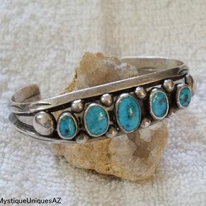 Vtg Navajo Sterling Silver Turquoise Cuff Bracelet